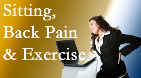 Back And Neck Care Center encourages less sitting and more exercising to combat back pain and other pain issues.