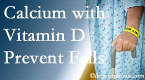 Calcium and vitamin D supplementation may be recommended to Severna Park chiropractic patients who are at risk of falling.