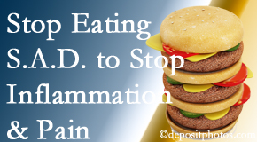 Severna Park chiropractic patients do well to avoid the S.A.D. diet to decrease inflammation and pain.