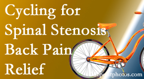 Back And Neck Care Center encourages exercise like cycling for back pain relief from lumbar spine stenosis.
