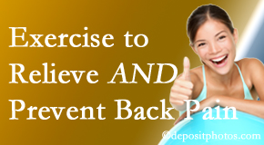 Back And Neck Care Center urges Severna Park back pain patients to exercise to prevent back pain and get relief from back pain.