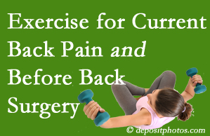 Severna Park exercise benefits patients with non-specific back pain and pre-back surgery patients though it is not often prescribed as much as opioids.
