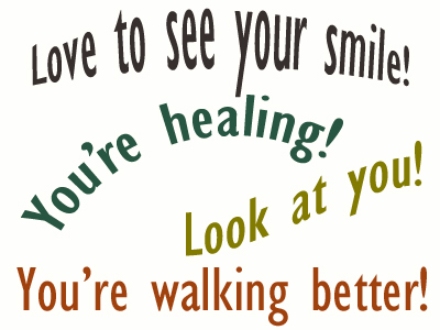 Use positive words to support your Severna Park loved one as he/she gets chiropractic care for relief.